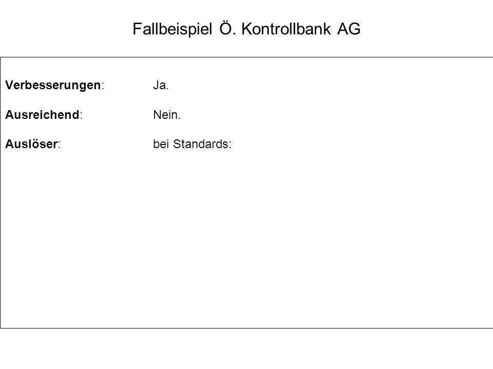 Fallbeispiel Ö. Kontrollbank AG Verbesserungen:Ja. Ausreichend:Nein. Auslöser:bei Standards: