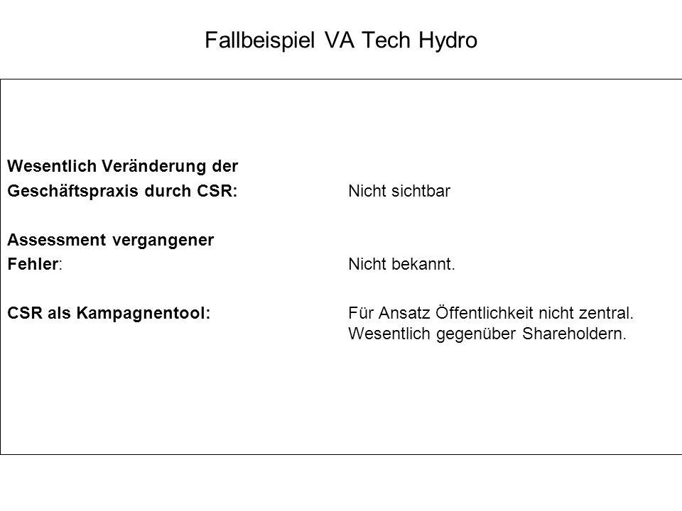 Fallbeispiel VA Tech Hydro Wesentlich Veränderung der Geschäftspraxis durch CSR: Nicht sichtbar Assessment vergangener Fehler: Nicht bekannt. CSR als