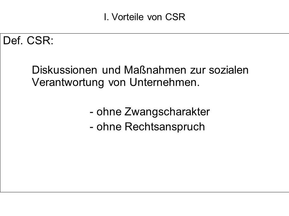 Def. CSR: Diskussionen und Maßnahmen zur sozialen Verantwortung von Unternehmen. - ohne Zwangscharakter - ohne Rechtsanspruch