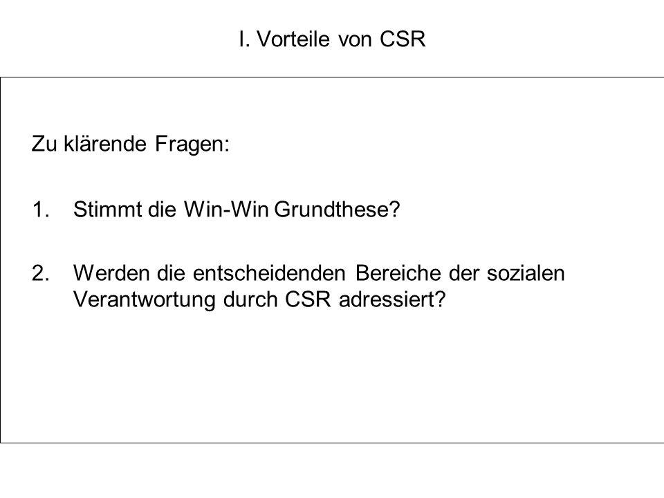 I.Vorteile von CSR Zu klärende Fragen: 1. Stimmt die Win-Win Grundthese.