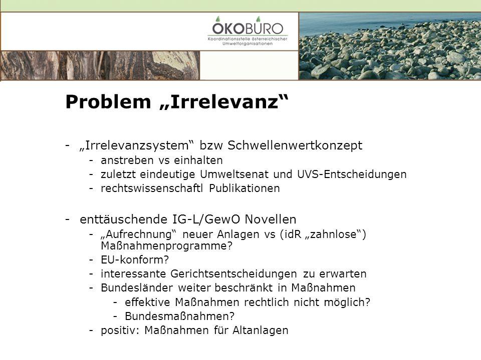 Problem Irrelevanz -Irrelevanzsystem bzw Schwellenwertkonzept -anstreben vs einhalten -zuletzt eindeutige Umweltsenat und UVS-Entscheidungen -rechtswissenschaftl Publikationen -enttäuschende IG-L/GewO Novellen -Aufrechnung neuer Anlagen vs (idR zahnlose) Maßnahmenprogramme.