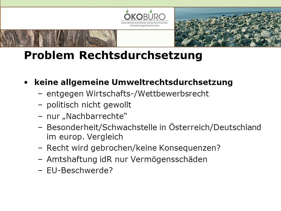 Problem Rechtsdurchsetzung keine allgemeine Umweltrechtsdurchsetzung –entgegen Wirtschafts-/Wettbewerbsrecht –politisch nicht gewollt –nur Nachbarrechte –Besonderheit/Schwachstelle in Österreich/Deutschland im europ.