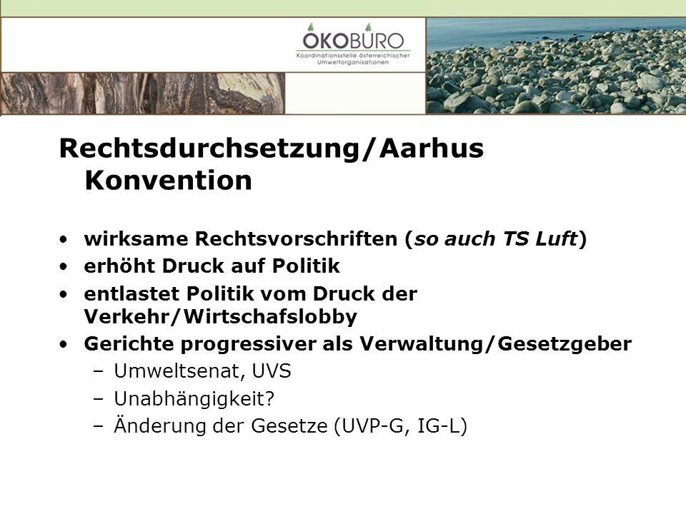 Rechtsdurchsetzung/Aarhus Konvention wirksame Rechtsvorschriften (so auch TS Luft) erhöht Druck auf Politik entlastet Politik vom Druck der Verkehr/Wirtschafslobby Gerichte progressiver als Verwaltung/Gesetzgeber –Umweltsenat, UVS –Unabhängigkeit.