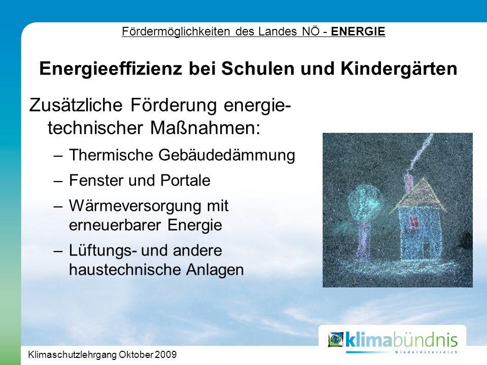 Klimaschutzlehrgang Oktober 2009 Fördermöglichkeiten des Landes NÖ - ENERGIE Zusätzliche Förderung energie- technischer Maßnahmen: –Thermische Gebäudedämmung –Fenster und Portale –Wärmeversorgung mit erneuerbarer Energie –Lüftungs- und andere haustechnische Anlagen Energieeffizienz bei Schulen und Kindergärten
