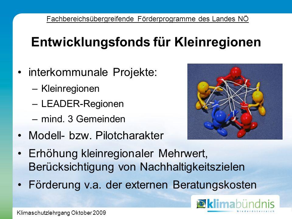 Klimaschutzlehrgang Oktober 2009 interkommunale Projekte: –Kleinregionen –LEADER-Regionen –mind.