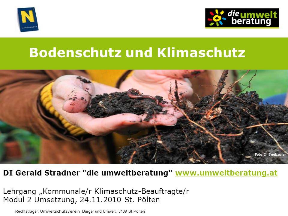 Bodenschutz und Klimaschutz Lehrgang Kommunale/r Klimaschutz-Beauftragte/r Modul 2 Umsetzung, 24.11.2010 St. Pölten DI Gerald Stradner