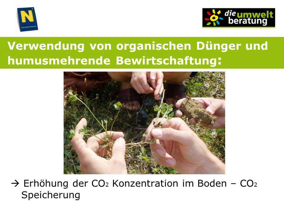 Verwendung von organischen Dünger und humusmehrende Bewirtschaftung : Erhöhung der CO 2 Konzentration im Boden – CO 2 Speicherung