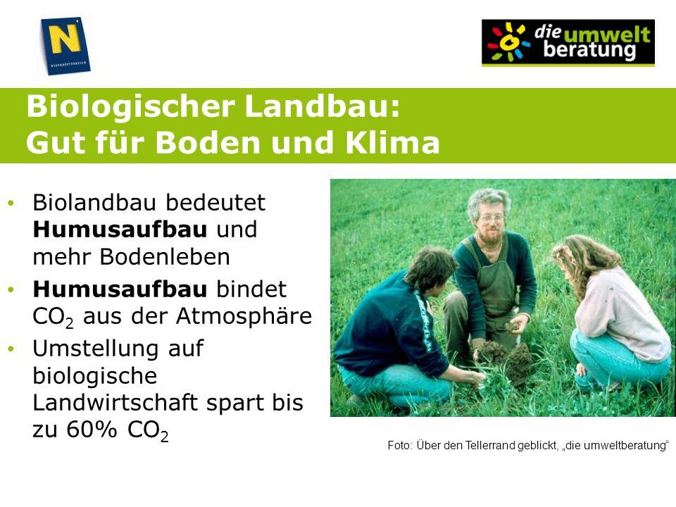 Biologischer Landbau: Gut für Boden und Klima Biolandbau bedeutet Humusaufbau und mehr Bodenleben Humusaufbau bindet CO 2 aus der Atmosphäre Umstellun