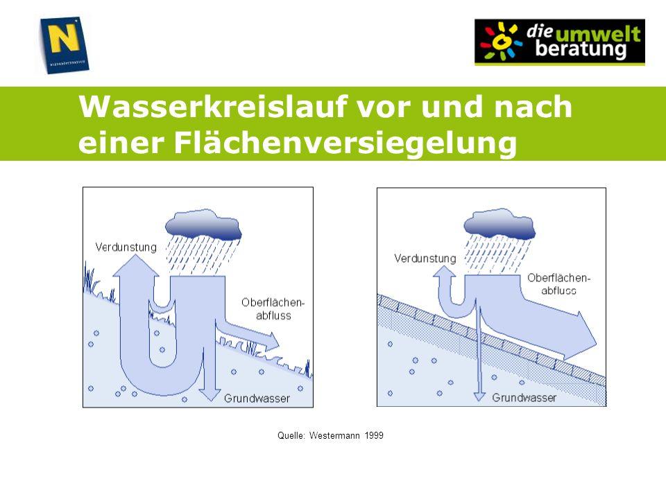 Wasserkreislauf vor und nach einer Flächenversiegelung Quelle: Westermann 1999
