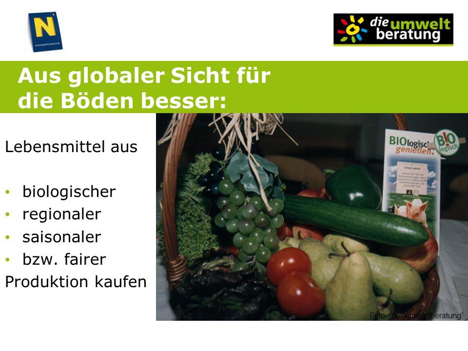 Aus globaler Sicht für die Böden besser: Lebensmittel aus biologischer regionaler saisonaler bzw. fairer Produktion kaufen Foto: die umweltberatung