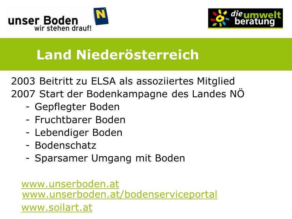 2003 Beitritt zu ELSA als assoziiertes Mitglied 2007 Start der Bodenkampagne des Landes NÖ -Gepflegter Boden -Fruchtbarer Boden -Lebendiger Boden -Bod