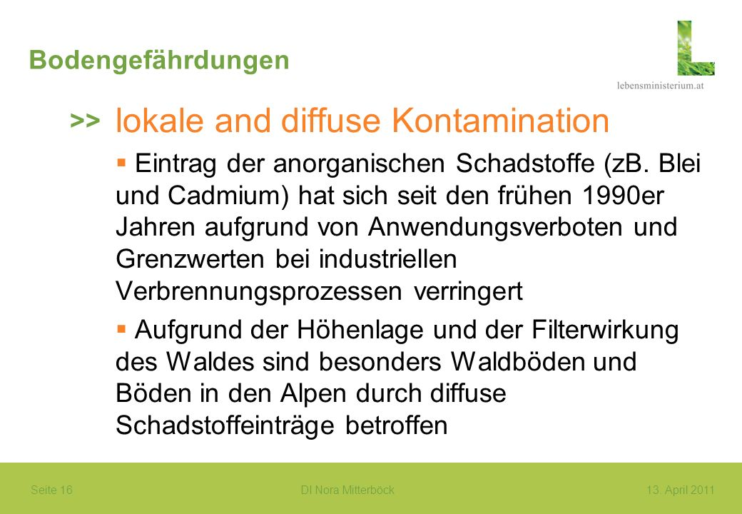 Seite 16 DI Nora Mitterböck13. April 2011 Bodengefährdungen lokale and diffuse Kontamination Eintrag der anorganischen Schadstoffe (zB. Blei und Cadmi