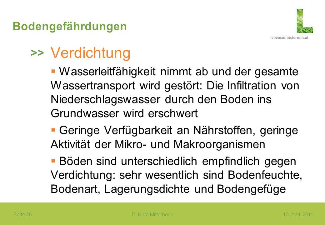 Seite 26 DI Nora Mitterböck13. April 2011 Bodengefährdungen Verdichtung Wasserleitfähigkeit nimmt ab und der gesamte Wassertransport wird gestört: Die