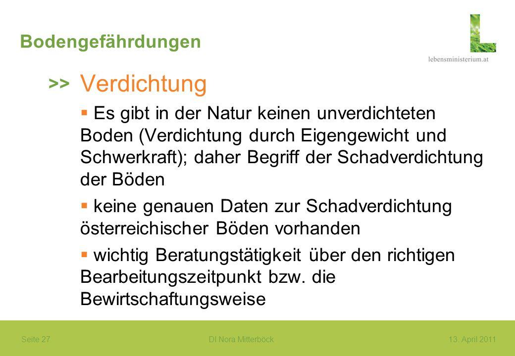 Seite 27 DI Nora Mitterböck13. April 2011 Bodengefährdungen Verdichtung Es gibt in der Natur keinen unverdichteten Boden (Verdichtung durch Eigengewic