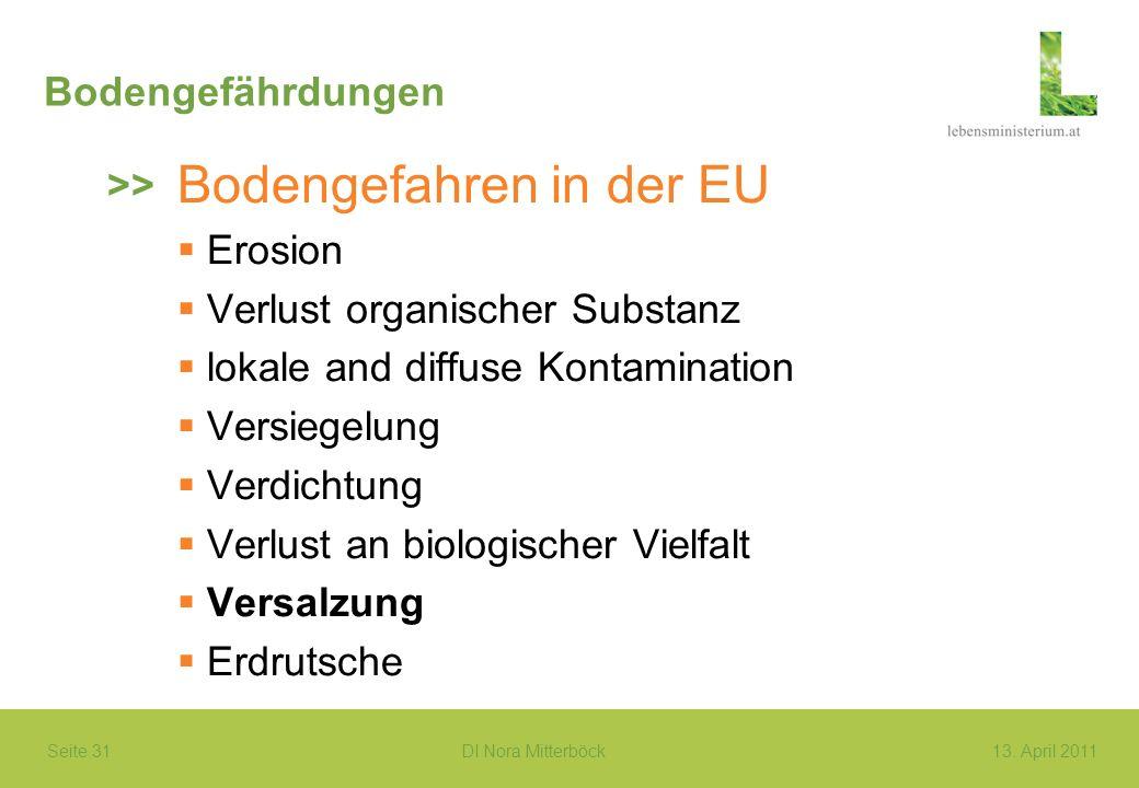 Seite 31 DI Nora Mitterböck13. April 2011 Bodengefährdungen Bodengefahren in der EU Erosion Verlust organischer Substanz lokale and diffuse Kontaminat