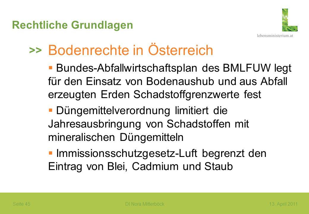 Seite 45 DI Nora Mitterböck13. April 2011 Rechtliche Grundlagen Bodenrechte in Österreich Bundes-Abfallwirtschaftsplan des BMLFUW legt für den Einsatz