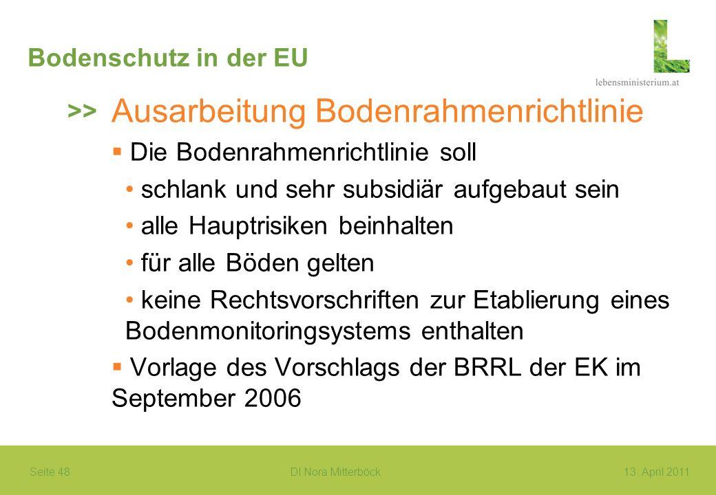Seite 48 DI Nora Mitterböck13. April 2011 Bodenschutz in der EU Ausarbeitung Bodenrahmenrichtlinie Die Bodenrahmenrichtlinie soll schlank und sehr sub