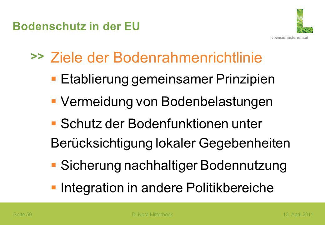 Seite 50 DI Nora Mitterböck13. April 2011 Bodenschutz in der EU Ziele der Bodenrahmenrichtlinie Etablierung gemeinsamer Prinzipien Vermeidung von Bode