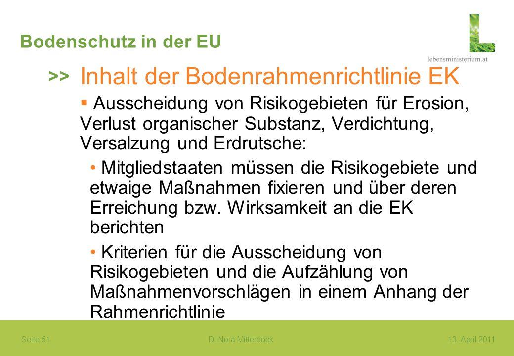 Seite 51 DI Nora Mitterböck13. April 2011 Bodenschutz in der EU Inhalt der Bodenrahmenrichtlinie EK Ausscheidung von Risikogebieten für Erosion, Verlu