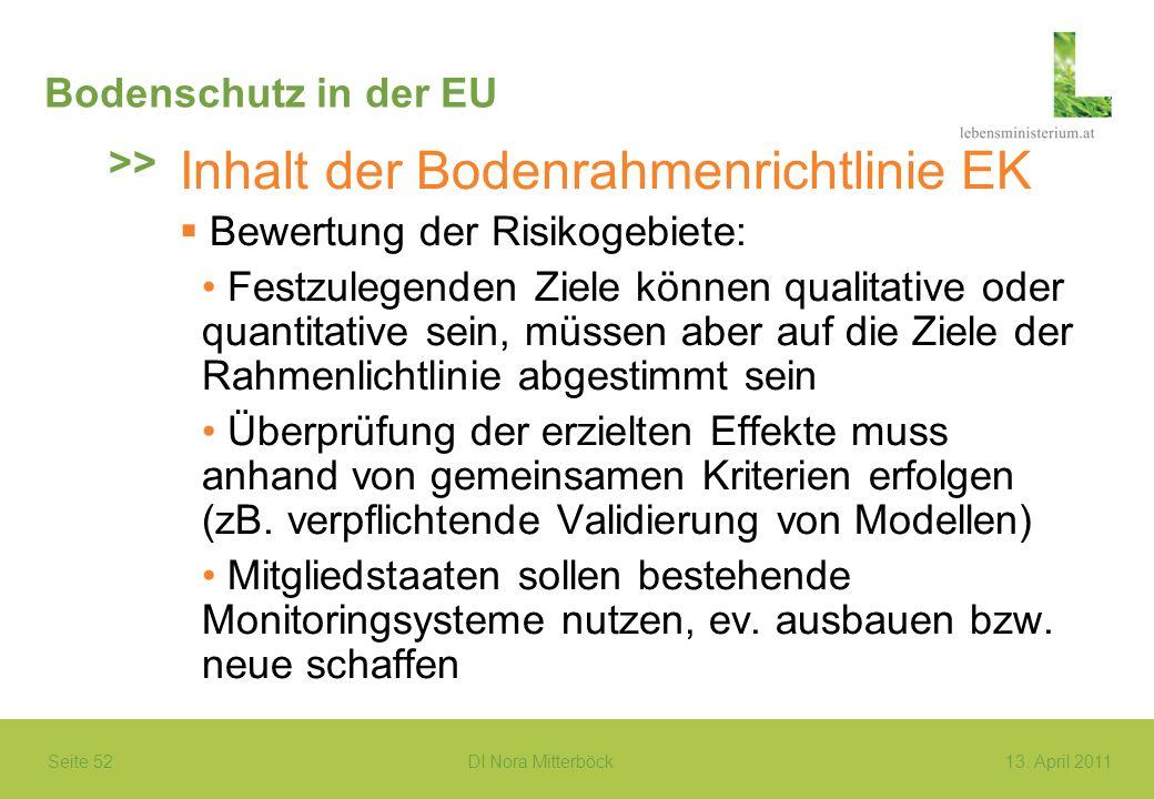 Seite 52 DI Nora Mitterböck13. April 2011 Bodenschutz in der EU Inhalt der Bodenrahmenrichtlinie EK Bewertung der Risikogebiete: Festzulegenden Ziele