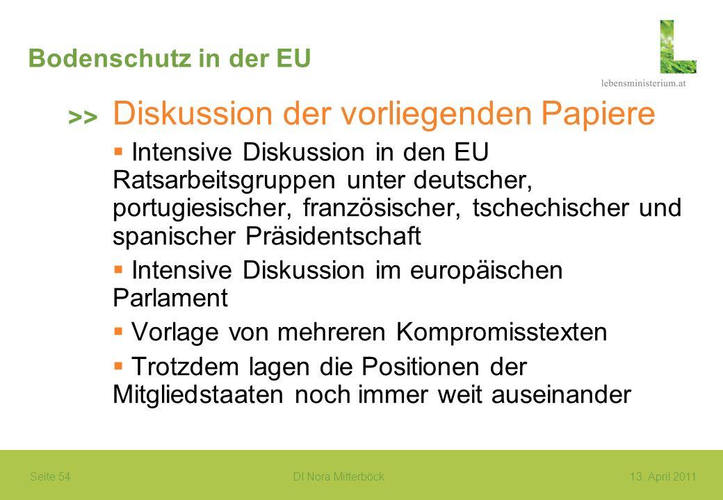 Seite 54 DI Nora Mitterböck13. April 2011 Bodenschutz in der EU Diskussion der vorliegenden Papiere Intensive Diskussion in den EU Ratsarbeitsgruppen