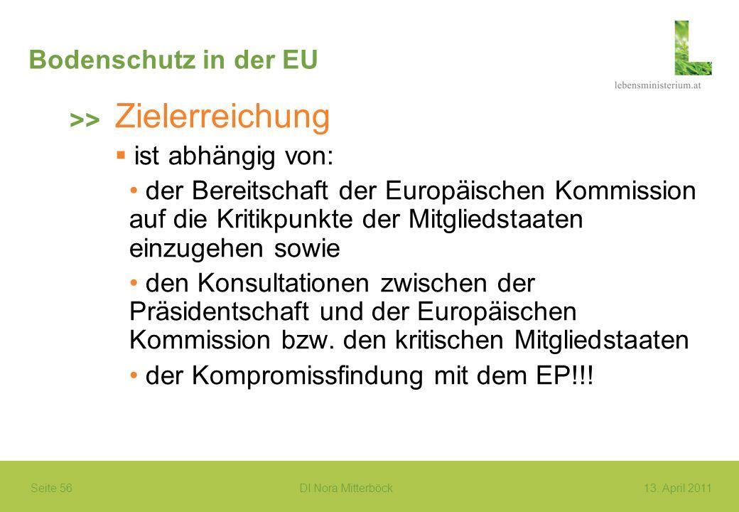Seite 56 DI Nora Mitterböck13. April 2011 Bodenschutz in der EU Zielerreichung ist abhängig von: der Bereitschaft der Europäischen Kommission auf die