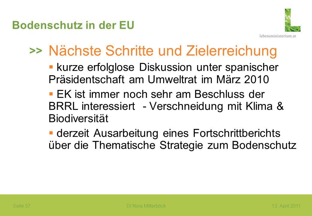 Seite 57 DI Nora Mitterböck13. April 2011 Bodenschutz in der EU Nächste Schritte und Zielerreichung kurze erfolglose Diskussion unter spanischer Präsi
