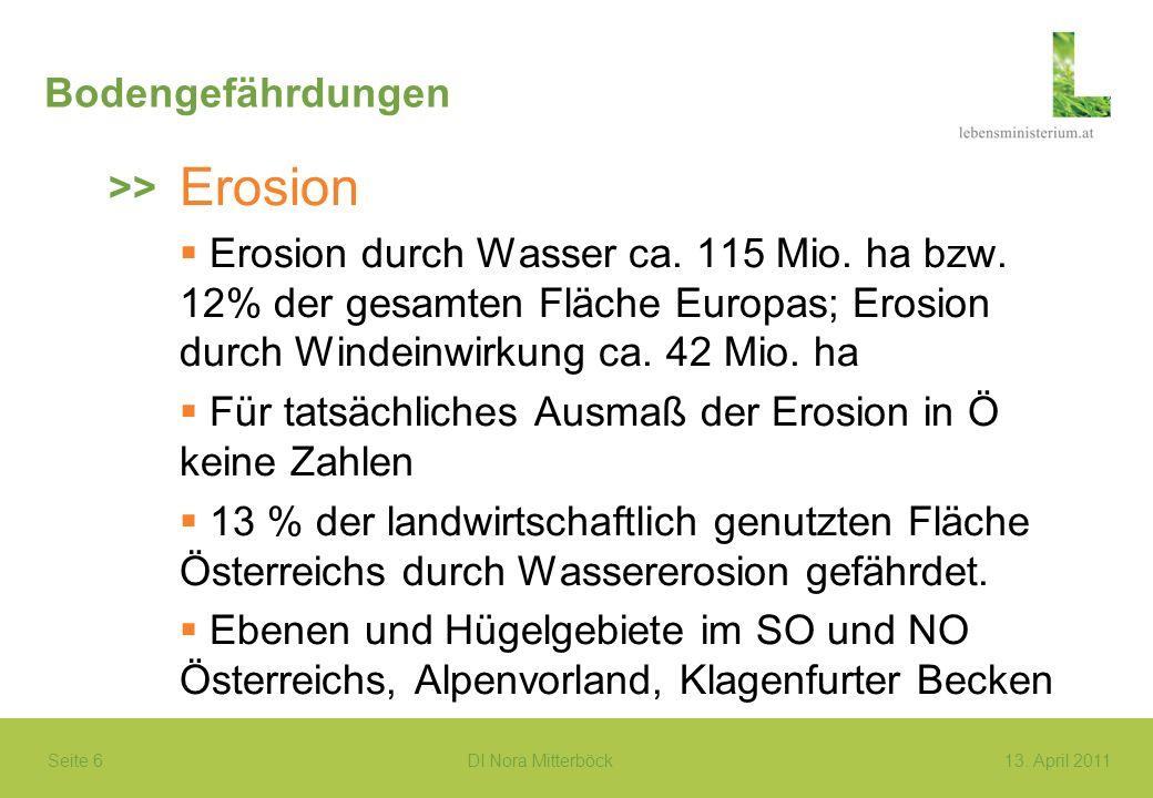 Seite 6 DI Nora Mitterböck13. April 2011 Bodengefährdungen Erosion Erosion durch Wasser ca. 115 Mio. ha bzw. 12% der gesamten Fläche Europas; Erosion