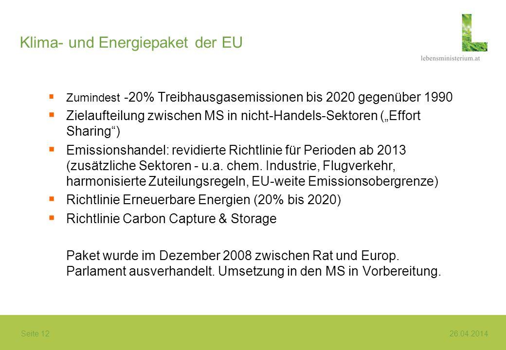 Seite 12 26.04.2014 Klima- und Energiepaket der EU Zumindest -20% Treibhausgasemissionen bis 2020 gegenüber 1990 Zielaufteilung zwischen MS in nicht-H