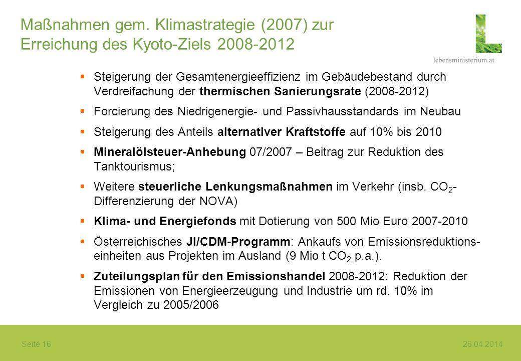 Seite 16 26.04.2014 Maßnahmen gem. Klimastrategie (2007) zur Erreichung des Kyoto-Ziels 2008-2012 Steigerung der Gesamtenergieeffizienz im Gebäudebest