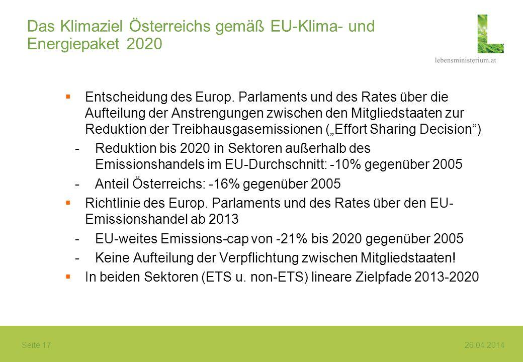 Seite 17 26.04.2014 Das Klimaziel Österreichs gemäß EU-Klima- und Energiepaket 2020 Entscheidung des Europ. Parlaments und des Rates über die Aufteilu