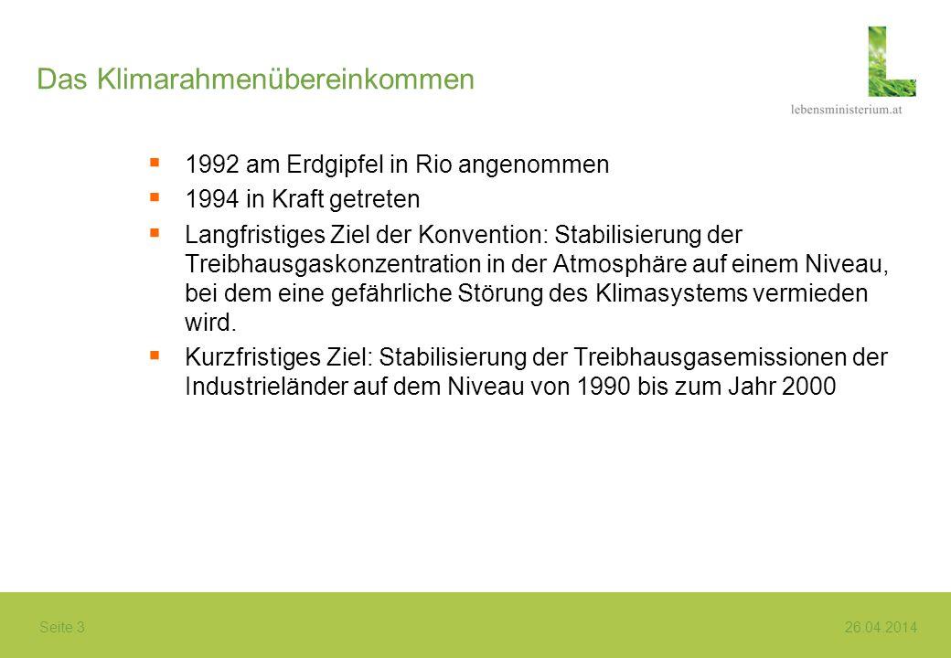 Seite 3 26.04.2014 Das Klimarahmenübereinkommen 1992 am Erdgipfel in Rio angenommen 1994 in Kraft getreten Langfristiges Ziel der Konvention: Stabilis