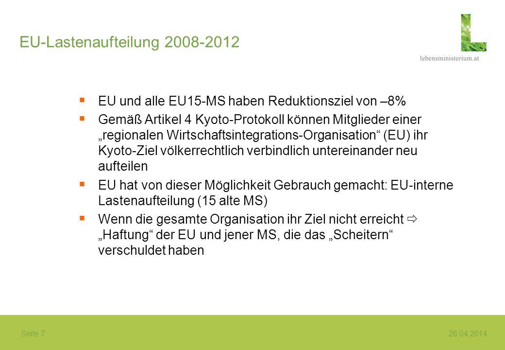 Seite 7 26.04.2014 EU-Lastenaufteilung 2008-2012 EU und alle EU15-MS haben Reduktionsziel von –8% Gemäß Artikel 4 Kyoto-Protokoll können Mitglieder ei