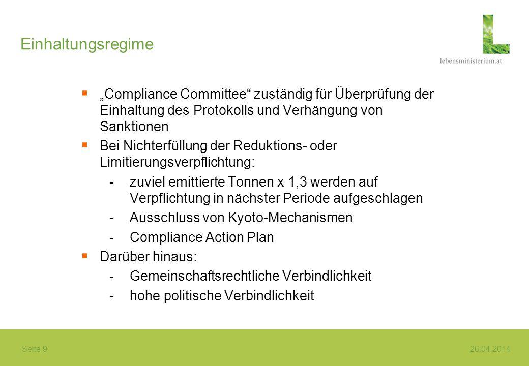 Seite 9 26.04.2014 Einhaltungsregime Compliance Committee zuständig für Überprüfung der Einhaltung des Protokolls und Verhängung von Sanktionen Bei Ni