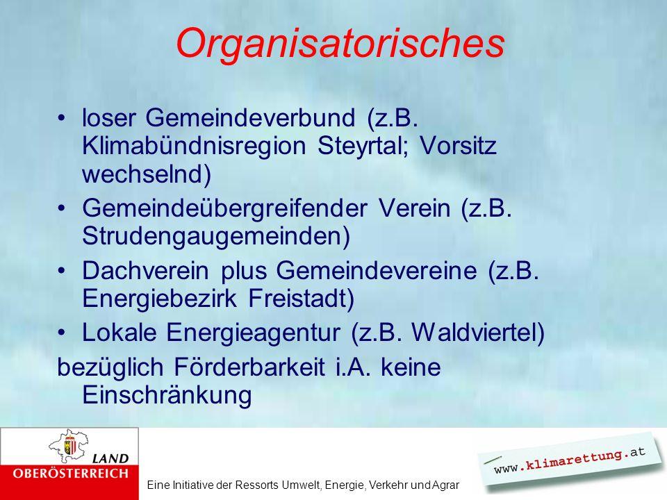 Eine Initiative der Ressorts Umwelt, Energie, Verkehr und Agrar Organisatorisches loser Gemeindeverbund (z.B.