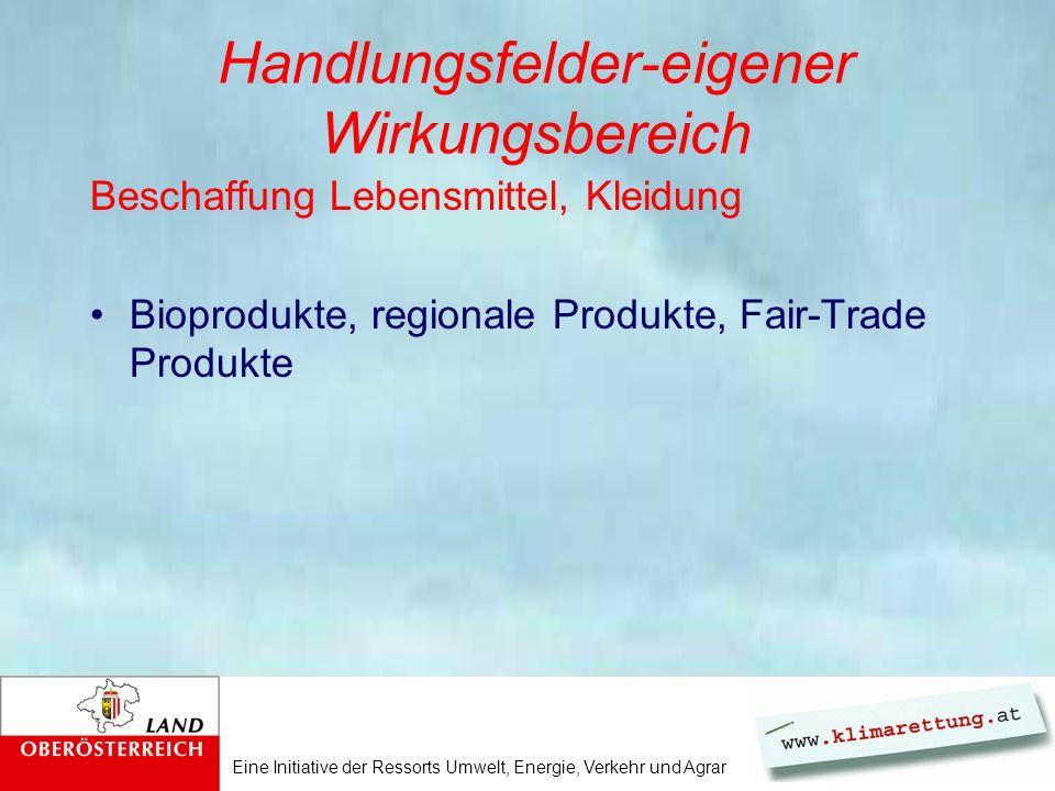 Eine Initiative der Ressorts Umwelt, Energie, Verkehr und Agrar Handlungsfelder-eigener Wirkungsbereich Beschaffung Lebensmittel, Kleidung Bioprodukte, regionale Produkte, Fair-Trade Produkte