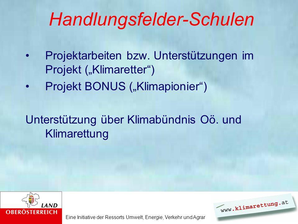 Eine Initiative der Ressorts Umwelt, Energie, Verkehr und Agrar Handlungsfelder-Schulen Projektarbeiten bzw. Unterstützungen im Projekt (Klimaretter)