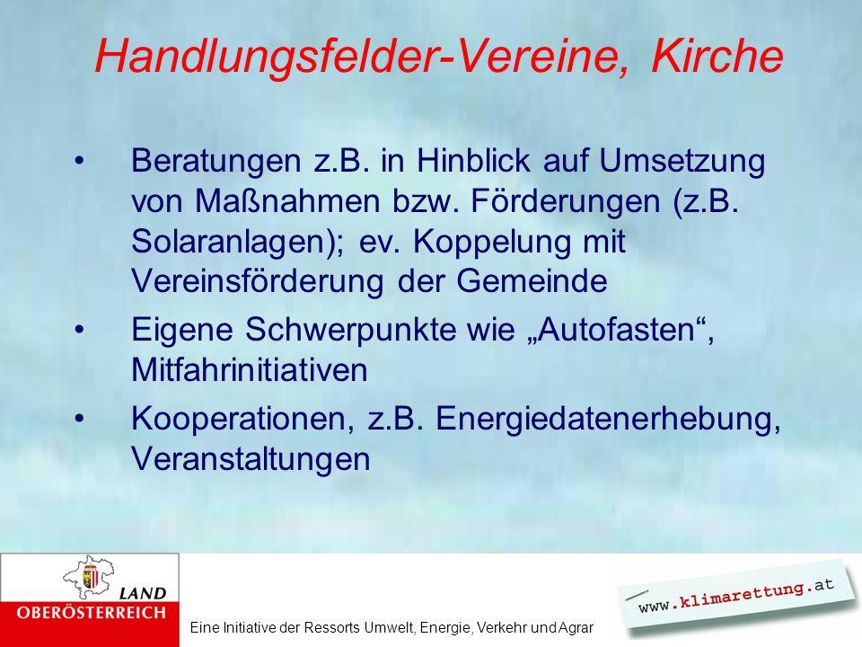 Eine Initiative der Ressorts Umwelt, Energie, Verkehr und Agrar Handlungsfelder-Vereine, Kirche Beratungen z.B.