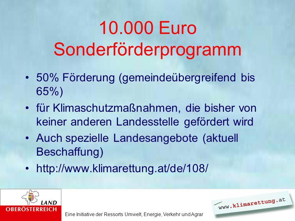 Eine Initiative der Ressorts Umwelt, Energie, Verkehr und Agrar 10.000 Euro Sonderförderprogramm 50% Förderung (gemeindeübergreifend bis 65%) für Klim