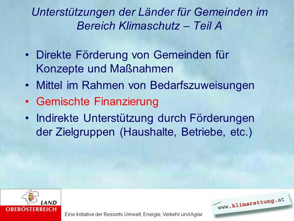 Eine Initiative der Ressorts Umwelt, Energie, Verkehr und Agrar Projekte mit gemischter Finanzierung Bund/Länder/Gemeinden (tw.