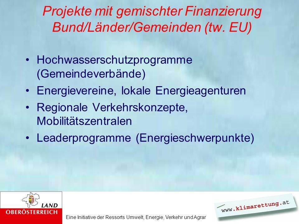 Eine Initiative der Ressorts Umwelt, Energie, Verkehr und Agrar Projekte mit gemischter Finanzierung Bund/Länder/Gemeinden (tw. EU) Hochwasserschutzpr