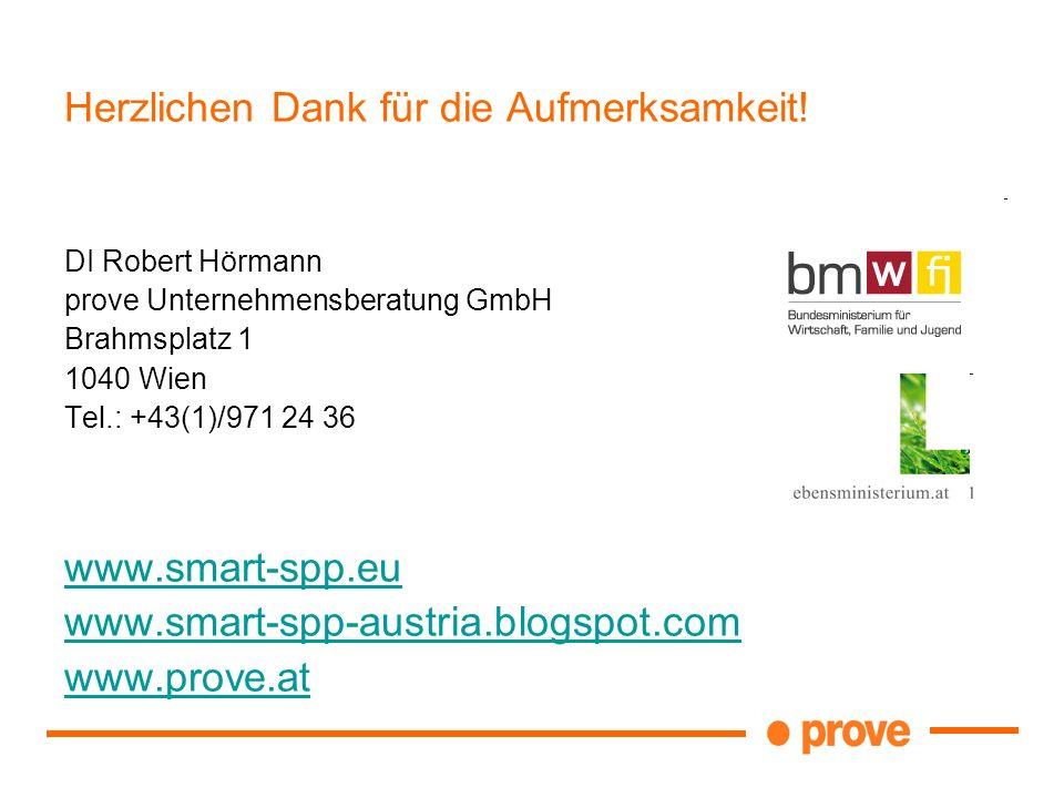 Herzlichen Dank für die Aufmerksamkeit! DI Robert Hörmann prove Unternehmensberatung GmbH Brahmsplatz 1 1040 Wien Tel.: +43(1)/971 24 36 www.smart-spp