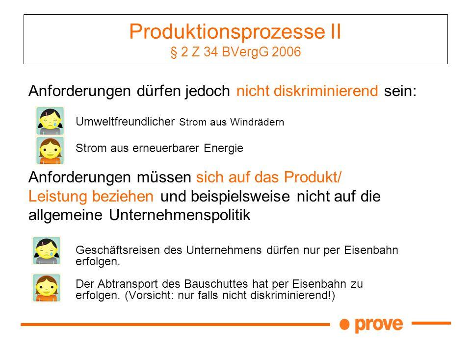 Produktionsprozesse II § 2 Z 34 BVergG 2006 Anforderungen dürfen jedoch nicht diskriminierend sein: Umweltfreundlicher Strom aus Windrädern Strom aus