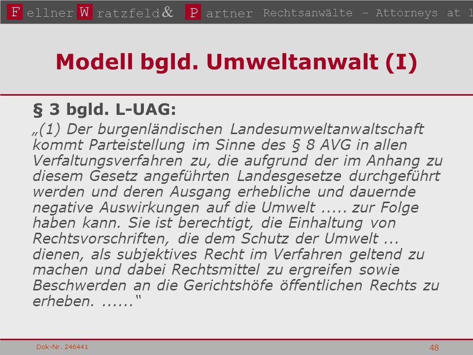 FW P ellner ratzfeld & artner Rechtsanwälte – Attorneys at law Dok-Nr. 246441 48 Modell bgld. Umweltanwalt (I) § 3 bgld. L-UAG: (1) Der burgenländisch