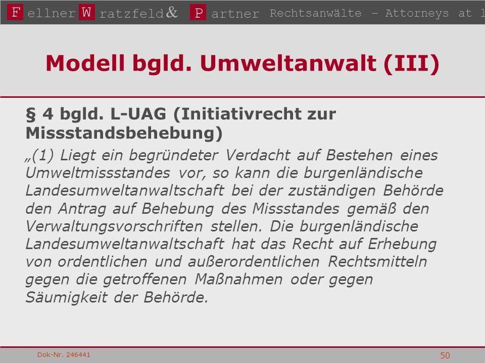 FW P ellner ratzfeld & artner Rechtsanwälte – Attorneys at law Dok-Nr. 246441 50 Modell bgld. Umweltanwalt (III) § 4 bgld. L-UAG (Initiativrecht zur M