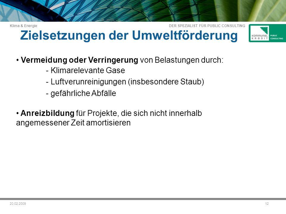 DER SPEZIALIST FÜR PUBLIC CONSULTING Klima & Energie 1220.02.2009 Zielsetzungen der Umweltförderung Vermeidung oder Verringerung von Belastungen durch: - Klimarelevante Gase - Luftverunreinigungen (insbesondere Staub) - gefährliche Abfälle Anreizbildung für Projekte, die sich nicht innerhalb angemessener Zeit amortisieren