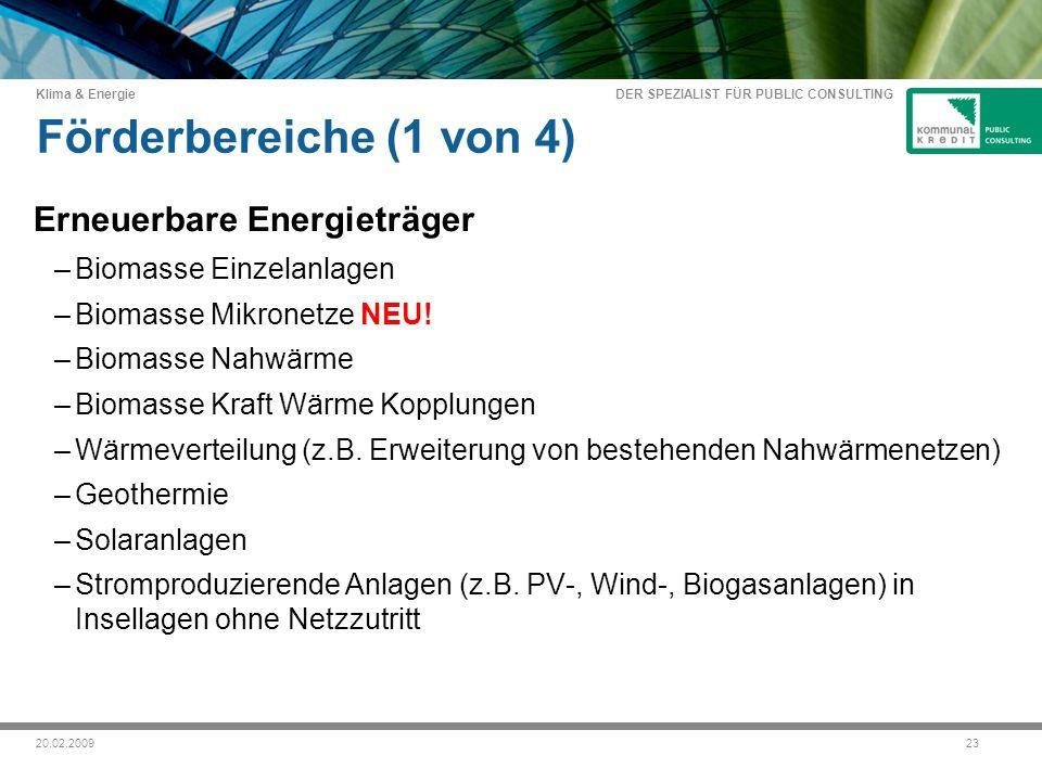 DER SPEZIALIST FÜR PUBLIC CONSULTING Klima & Energie 2320.02.2009 Förderbereiche (1 von 4) Erneuerbare Energieträger –Biomasse Einzelanlagen –Biomasse Mikronetze NEU.