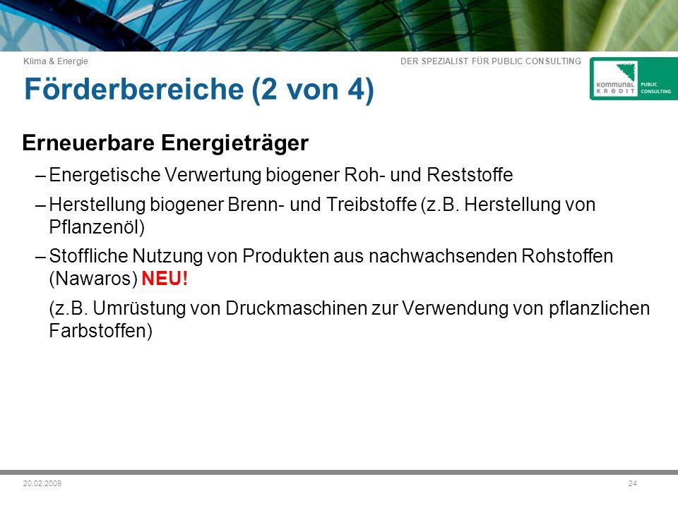 DER SPEZIALIST FÜR PUBLIC CONSULTING Klima & Energie 2420.02.2009 Förderbereiche (2 von 4) Erneuerbare Energieträger –Energetische Verwertung biogener Roh- und Reststoffe –Herstellung biogener Brenn- und Treibstoffe (z.B.