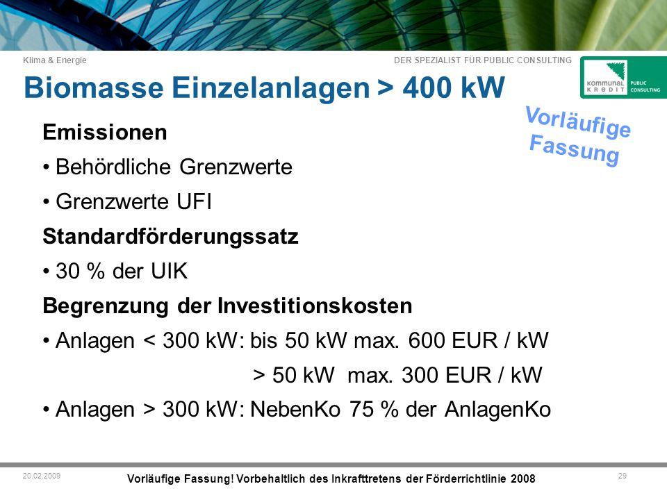 DER SPEZIALIST FÜR PUBLIC CONSULTING Klima & Energie 2920.02.2009 Biomasse Einzelanlagen > 400 kW Vorläufige Fassung.