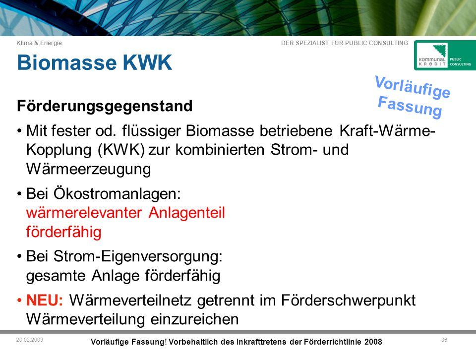 DER SPEZIALIST FÜR PUBLIC CONSULTING Klima & Energie 3620.02.2009 Biomasse KWK Vorläufige Fassung.